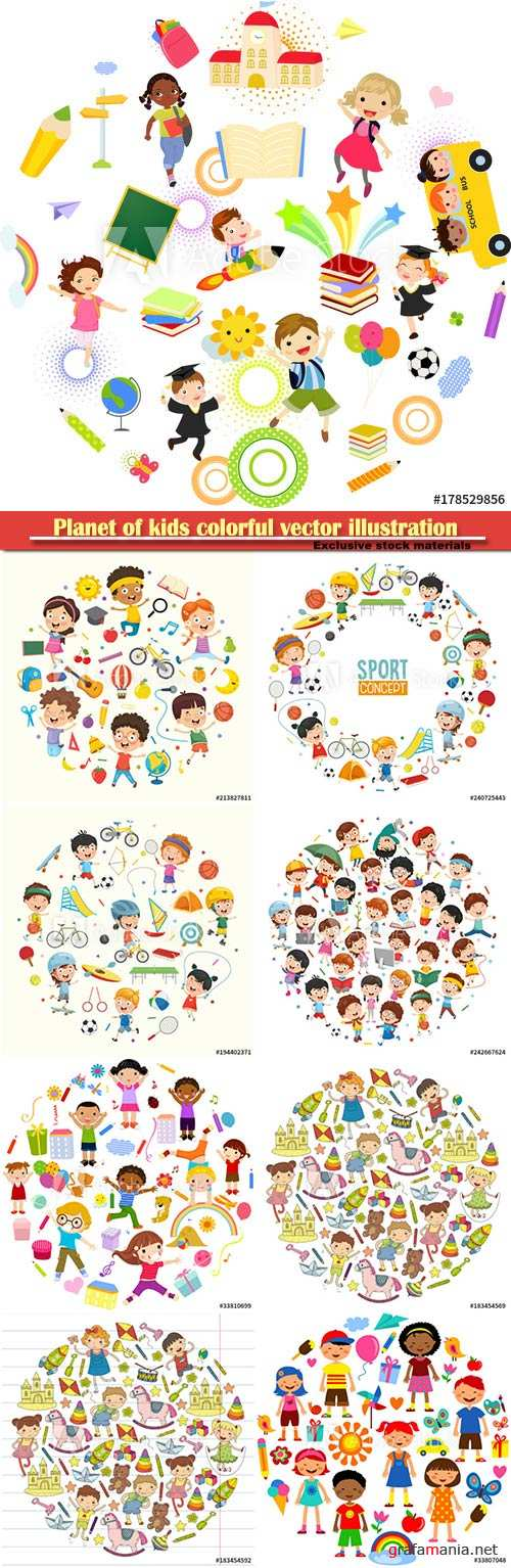 Planet of kids colorful vector illustration