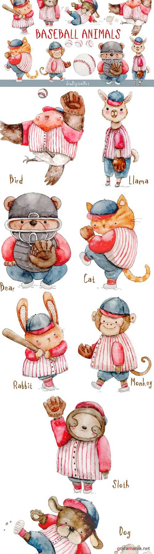 Watercolor Baseball Animals - 270359