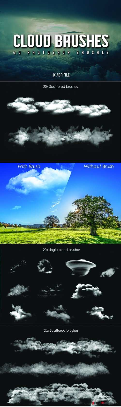 40 Cloud Brushes for Photoshop - 3799716