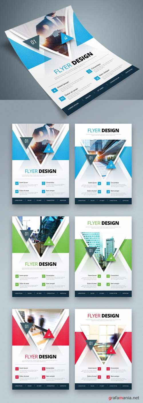 Colorful Business Flyer Layout with Triangle Elements_267840363