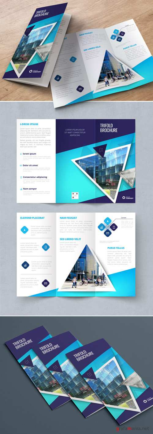 Dark Blue Trifold Brochure Layout with Triangles_267840417