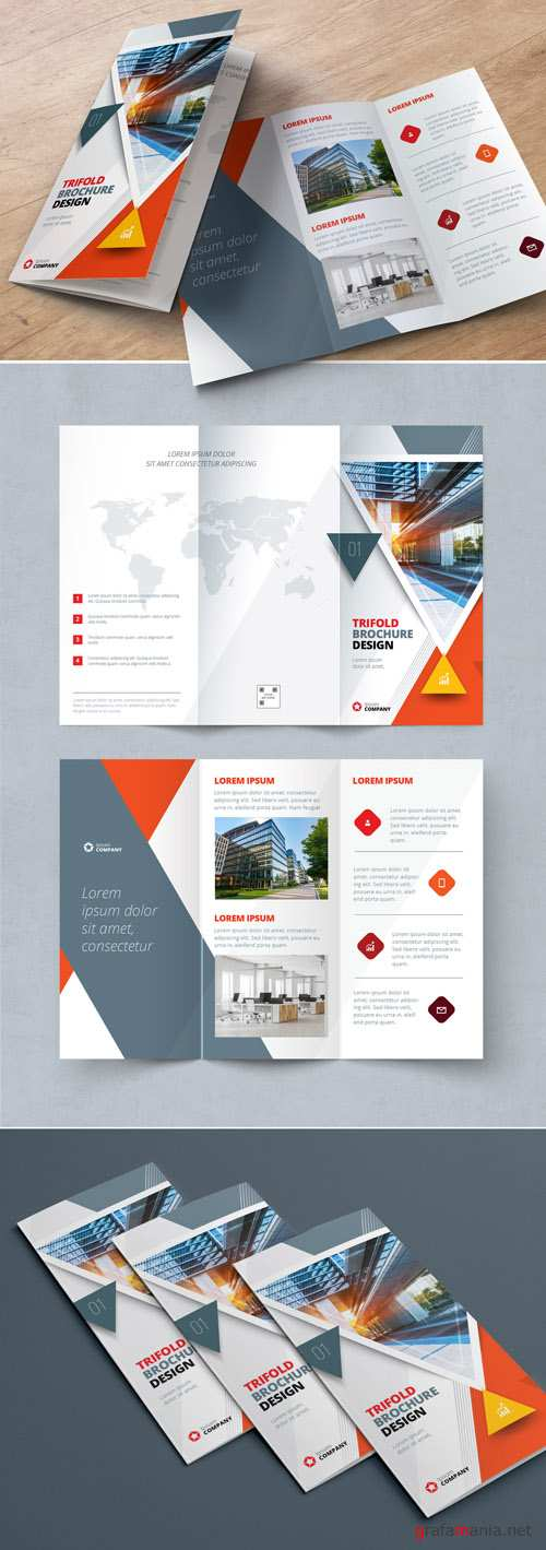 Orange Trifold Brochure Layout with Triangles_267840452