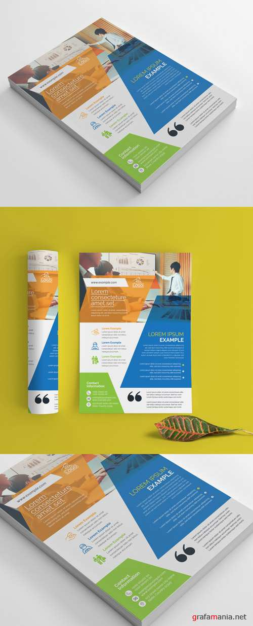 Corporate Flyer Layout with Multicolored Accents_266786817