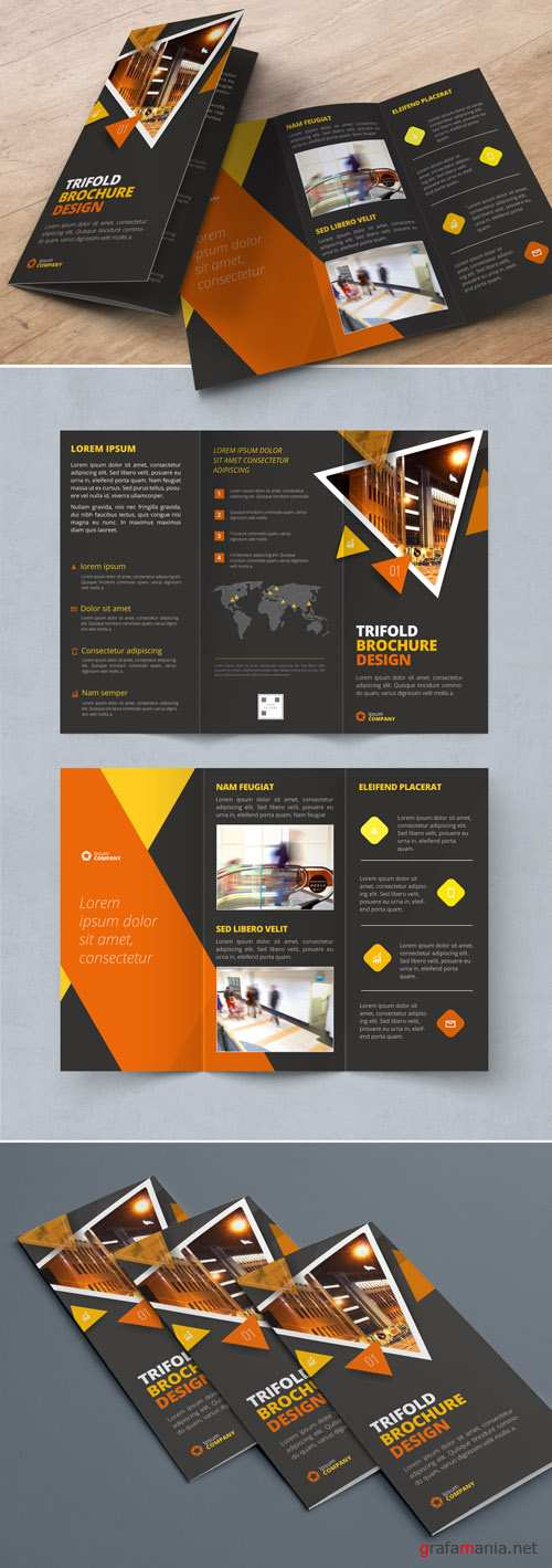 Dark Orange Trifold Brochure Layout with Triangles_267840446