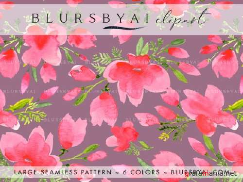 Pink Watercolor Poppies Patterns