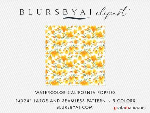 Watercolor California Poppies Patterns