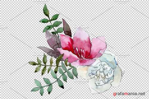 Bouquet Summer nights watercolor png - 3908409