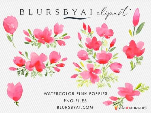 Pink Watercolor Poppies Clipart