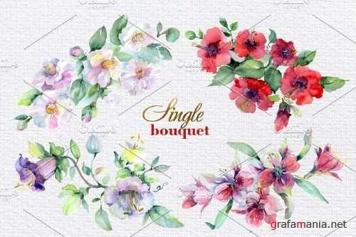 Bouquet of bright dreams watercolor - 3903603