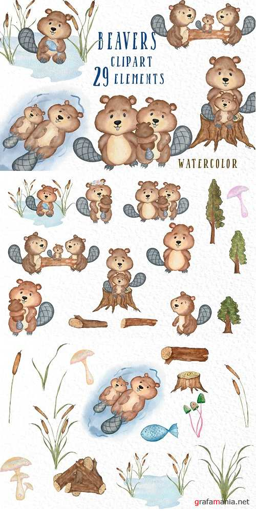 Watercolor animals Beavers clipart - 3909013
