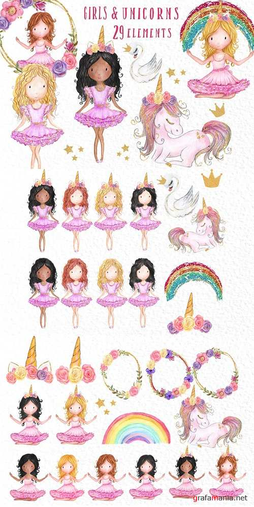Rainbow Unicorn Clipart Girls - 3908995