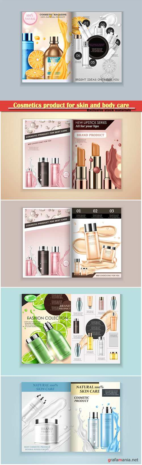 Cosmetics product for skin and body care vector design