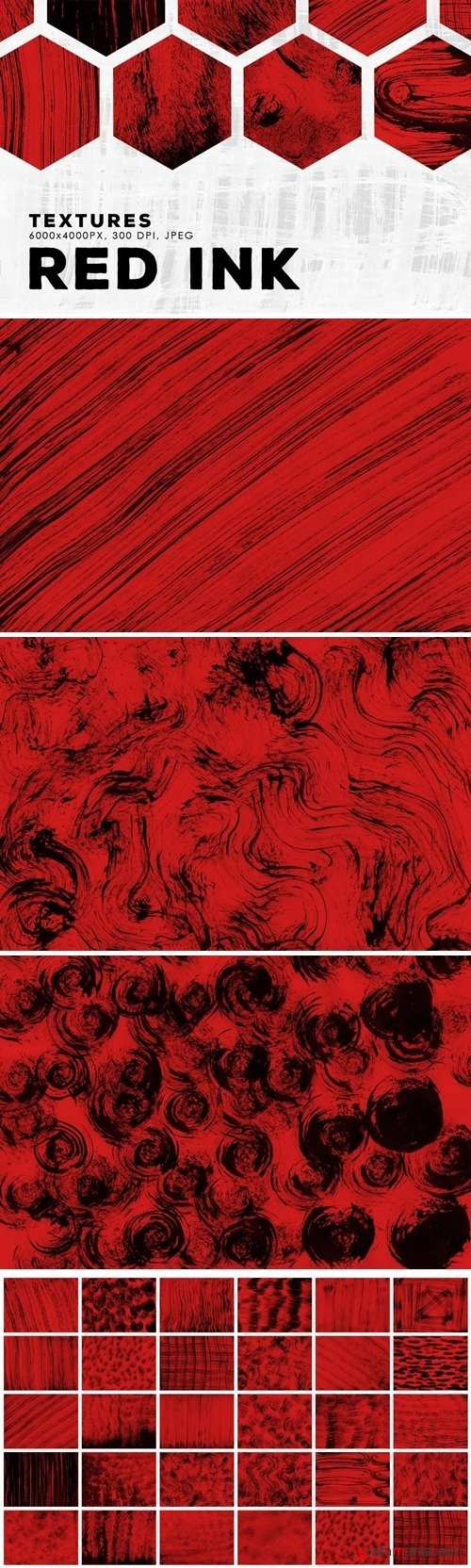 Red Abstract Ink Textures