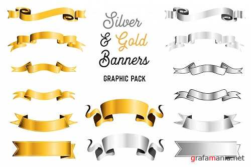 Silver and Gold Banner Pack - Ribbon and Scroll Banners - 276454