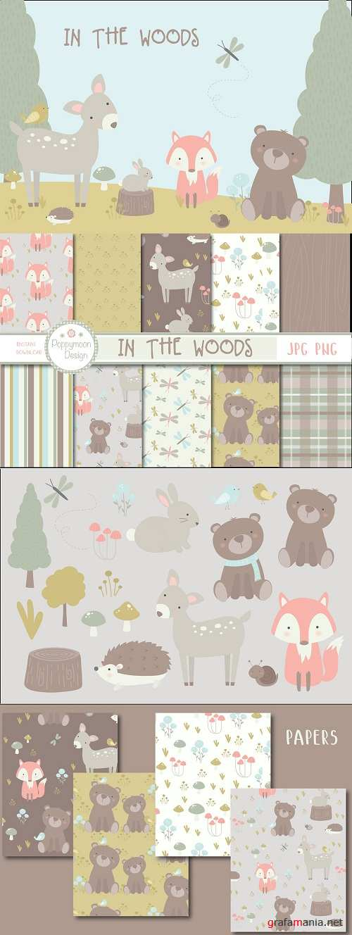 In the Woods Set (clipart + paper) - 3910792 - 3910800