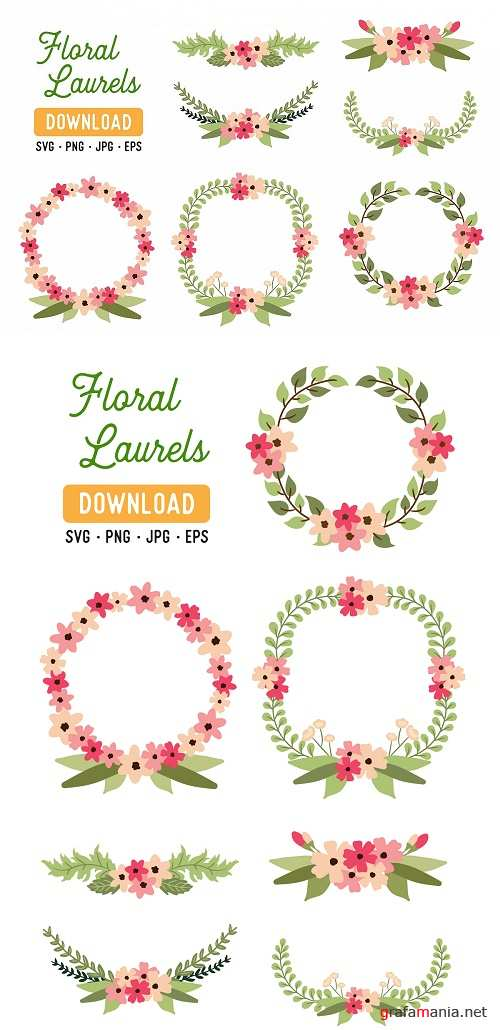 Pink Laurel Vector Clipart SVG Pack - Wreath Laurel Pack - 274796