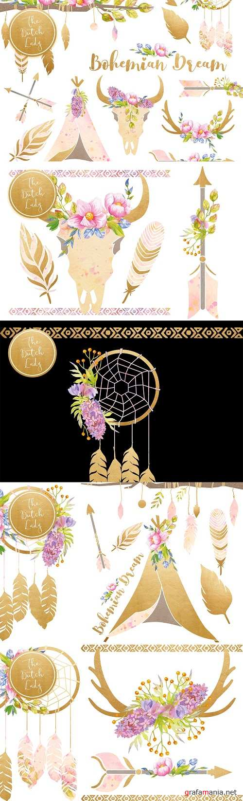 Bohemian Dream Clipart Set - 3911210