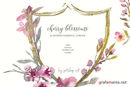 Hand Painted Cherry Blossoms Crests - 3481456