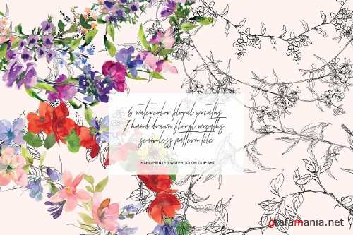 Watercolor & Hand Drawn Wreath Set - 3271546