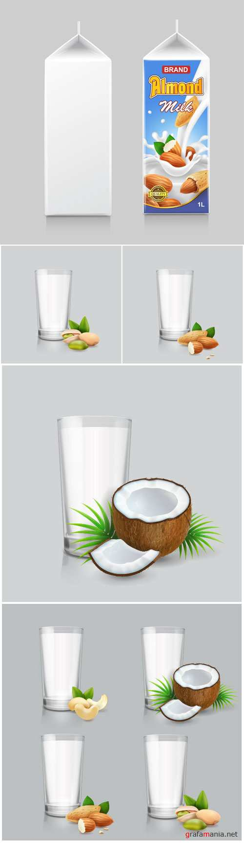 Dairy milk set, vegan nut milk in drinking glass