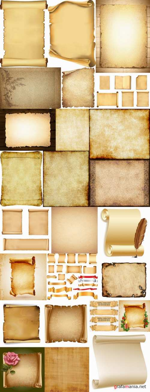 Old paper parchment scroll vector picture frame 25 EPS