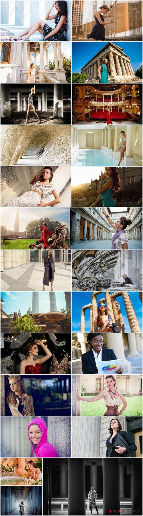 Woman girl wall column pillar country travel open world 25 HQ Jpeg