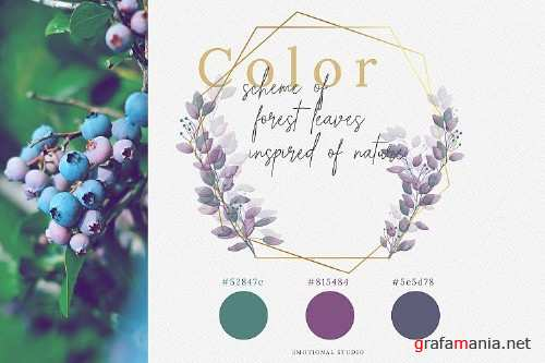 Watercolor Geometric Forest Leaves Frames - 288045