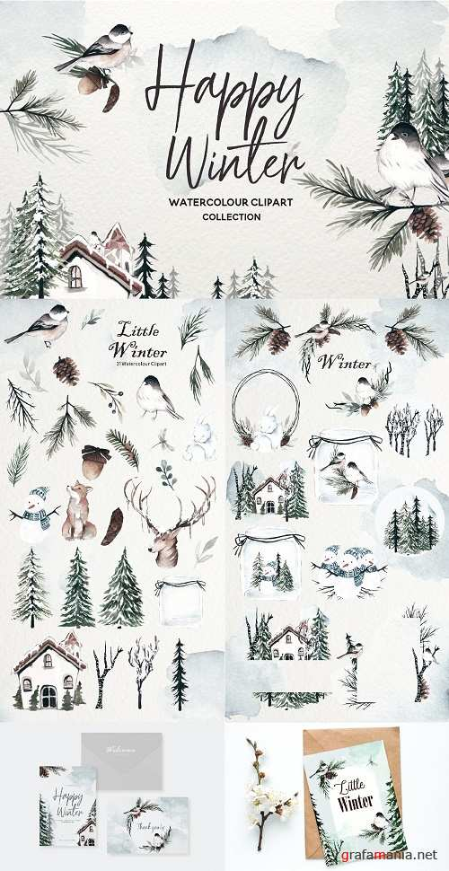 Winter Watercolor Collection - 3926216