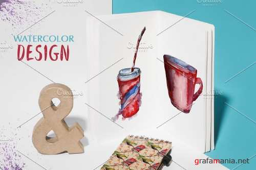 Watercolor Drinks. PNG set - 3932227