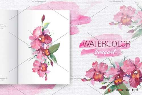 Branch of pink orchids Watercolor - 3931525