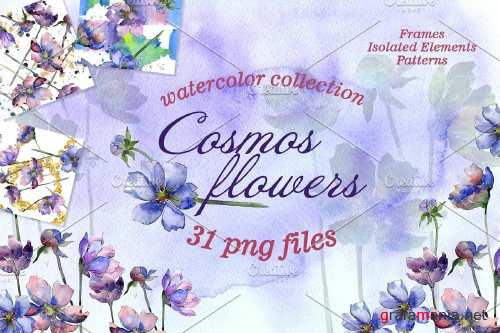 Cosmos flowers Watercolor png - 3932221