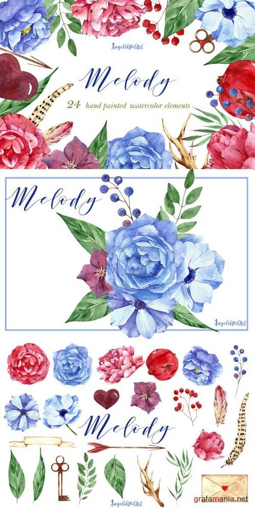 Watercolor Flower Clipart Melody