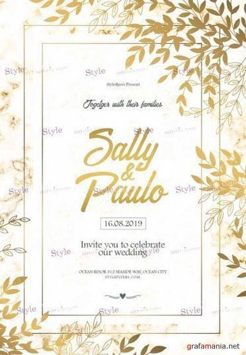 Wedding Invintation V16 2019 PSD Flyer Template