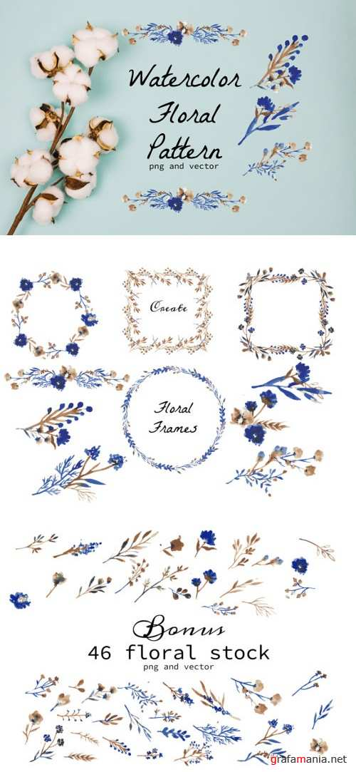 Watercolor Floral Wreath and Stock