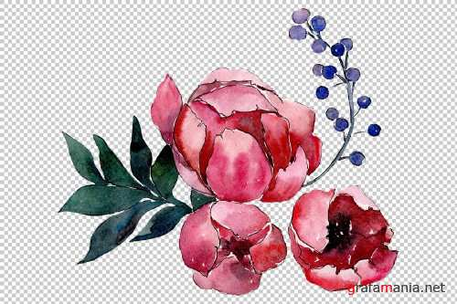 Bouquet flower palette watercolor - 3936147