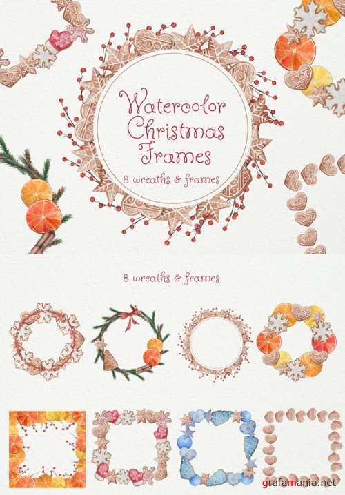 Watercolor Christmas Frames and Wreaths