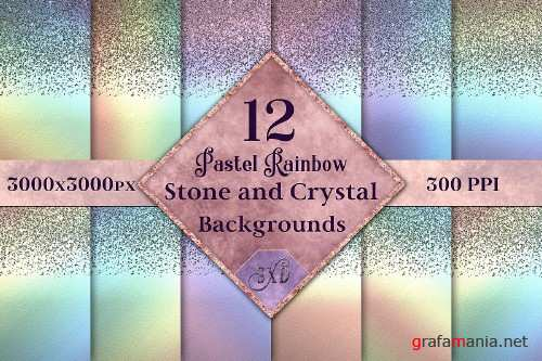Pastel Rainbow Stone and Crystal Backgrounds - 12 Images - 290238