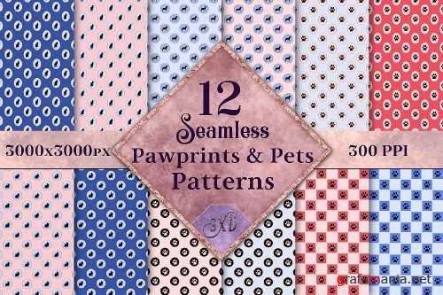 Seamless Pawprints & Pets Patterns - 12 Images - 289554