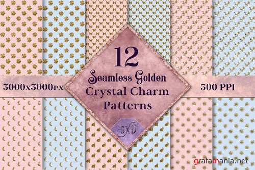 Seamless Golden Crystal Charm Patterns - 12 Images - 290848