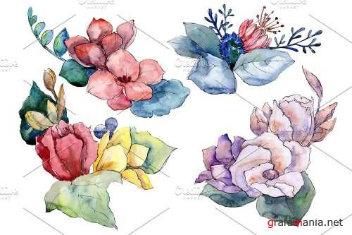 Bouquet Paint summer watercolor png - 3941498