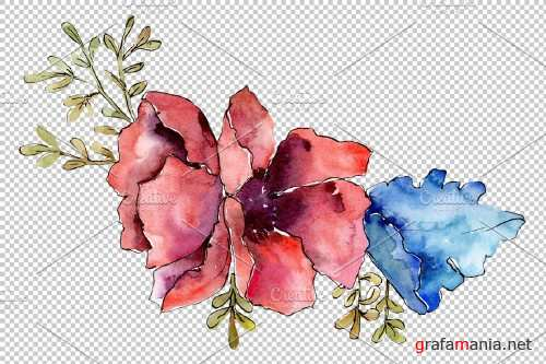 Bouquet Fire of passion watercolor - 3941629