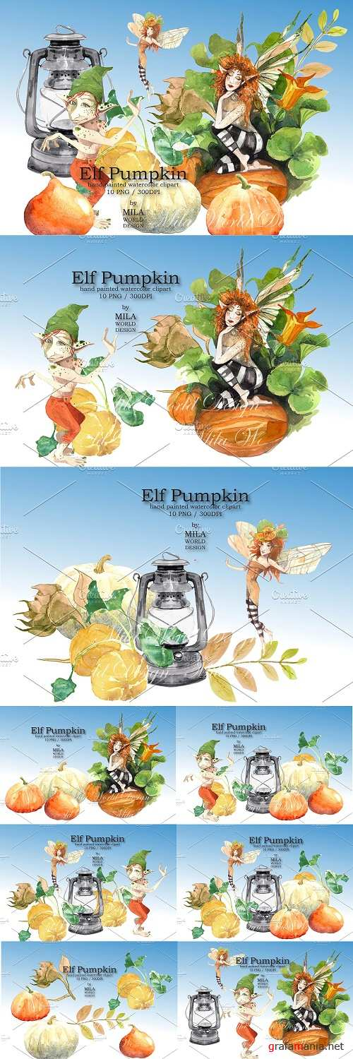 Elf pumpkin watercolor clip art - 3946706