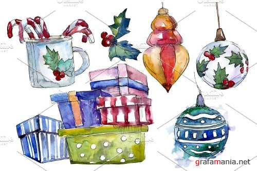 Christmas tea drinking watercolor - 3950727