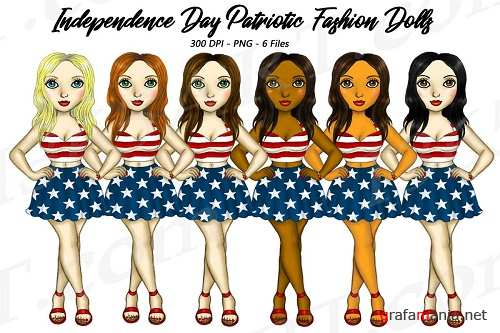 4th of July Fashion Girls Planner Clipart, America USA PNG - 272745