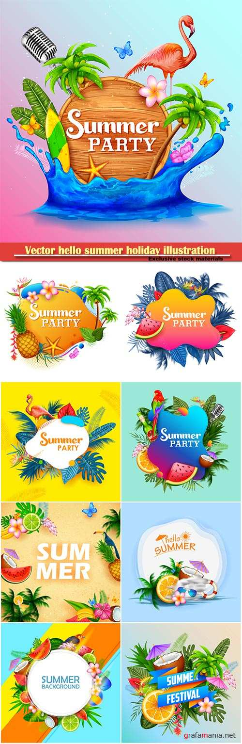 Vector hello summer holiday illustration # 7