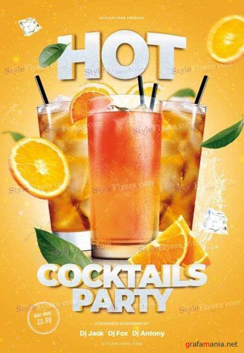 Hot Cocktails Party V24_07 2019 PSD Flyer Template