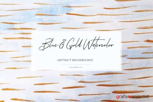 Watercolor Blue Gold Background - 3954385