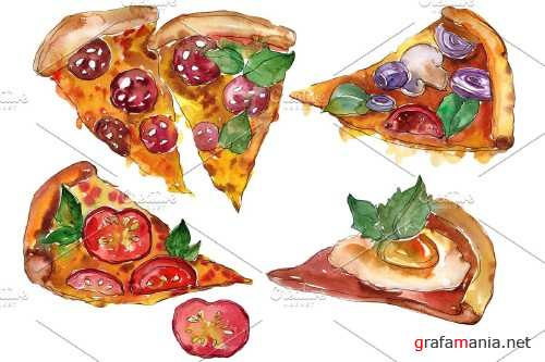 Pizza vegetable boom watercolor png - 3959159