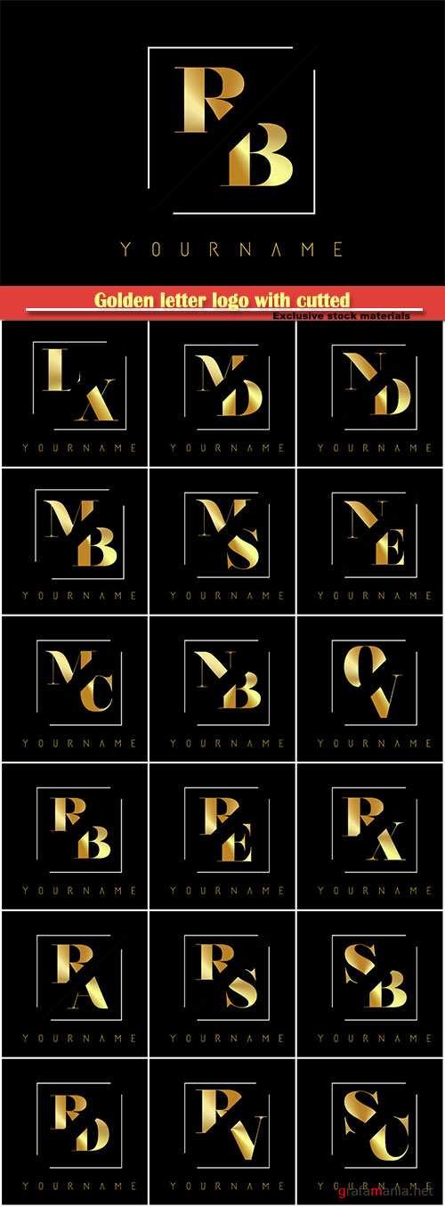 Golden letter logo with cutted and intersected design # 6