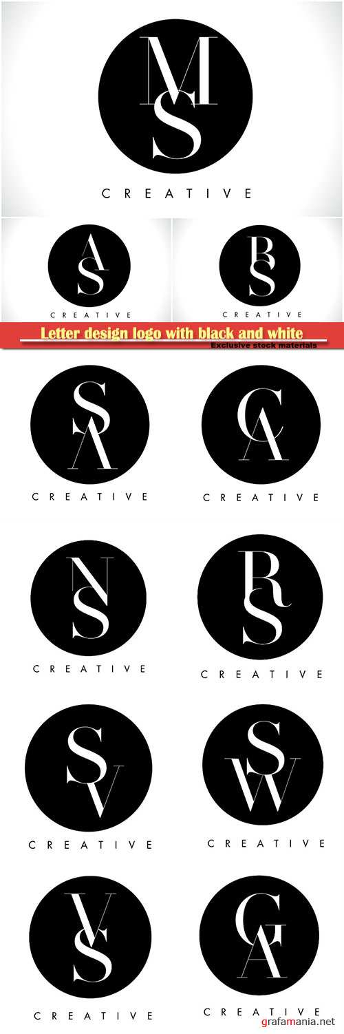 Letter design logo with black and white colors trendy vector illustration